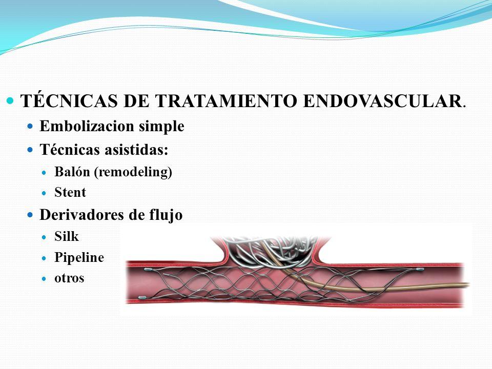 TÉCNICAS DE TRATAMIENTO ENDOVASCULAR. Embolizacion simple Técnicas asistidas: Balón (remodeling) Stent Derivadores de flujo Silk Pipeline otros