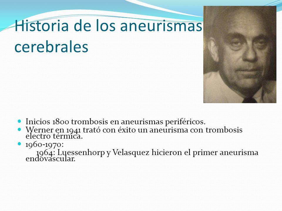 Historia de los aneurismas cerebrales Inicios 1800 trombosis en aneurismas periféricos. Werner en 1941 trató con éxito un aneurisma con trombosis elec