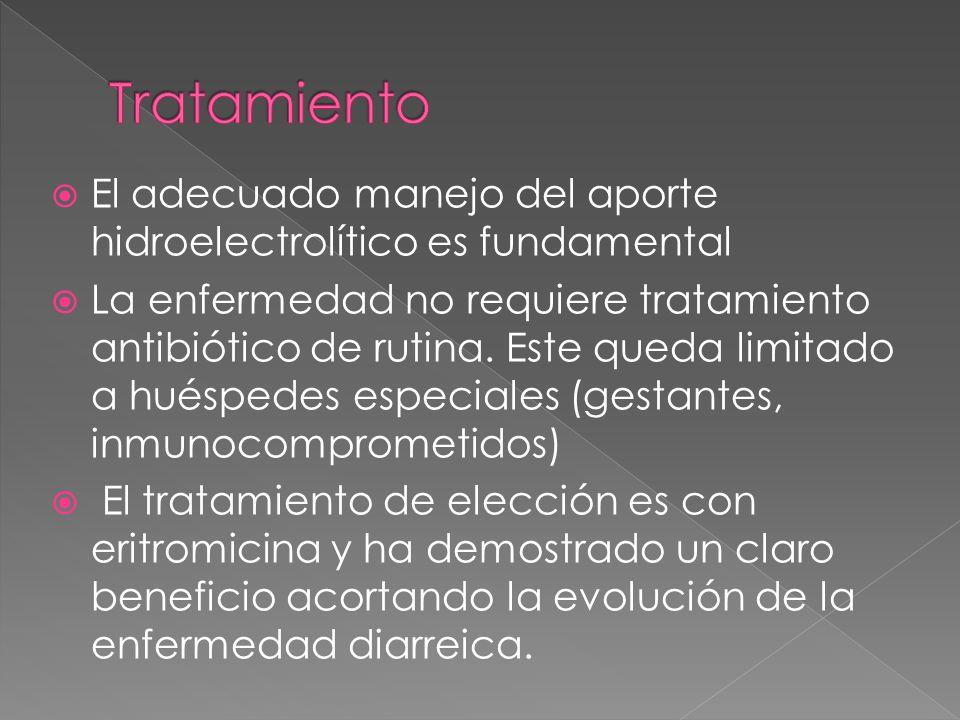 El adecuado manejo del aporte hidroelectrolítico es fundamental La enfermedad no requiere tratamiento antibiótico de rutina. Este queda limitado a hué