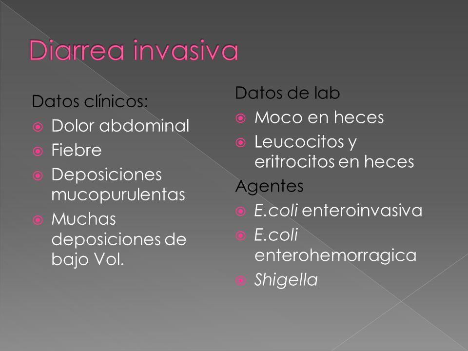 Datos clínicos: Dolor abdominal Fiebre Deposiciones mucopurulentas Muchas deposiciones de bajo Vol. Datos de lab Moco en heces Leucocitos y eritrocito