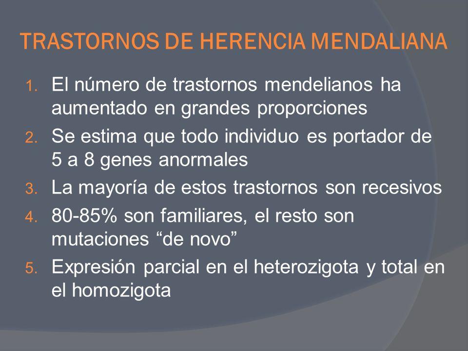 TRASTORNOS DE HERENCIA MENDALIANA 1. El número de trastornos mendelianos ha aumentado en grandes proporciones 2. Se estima que todo individuo es porta