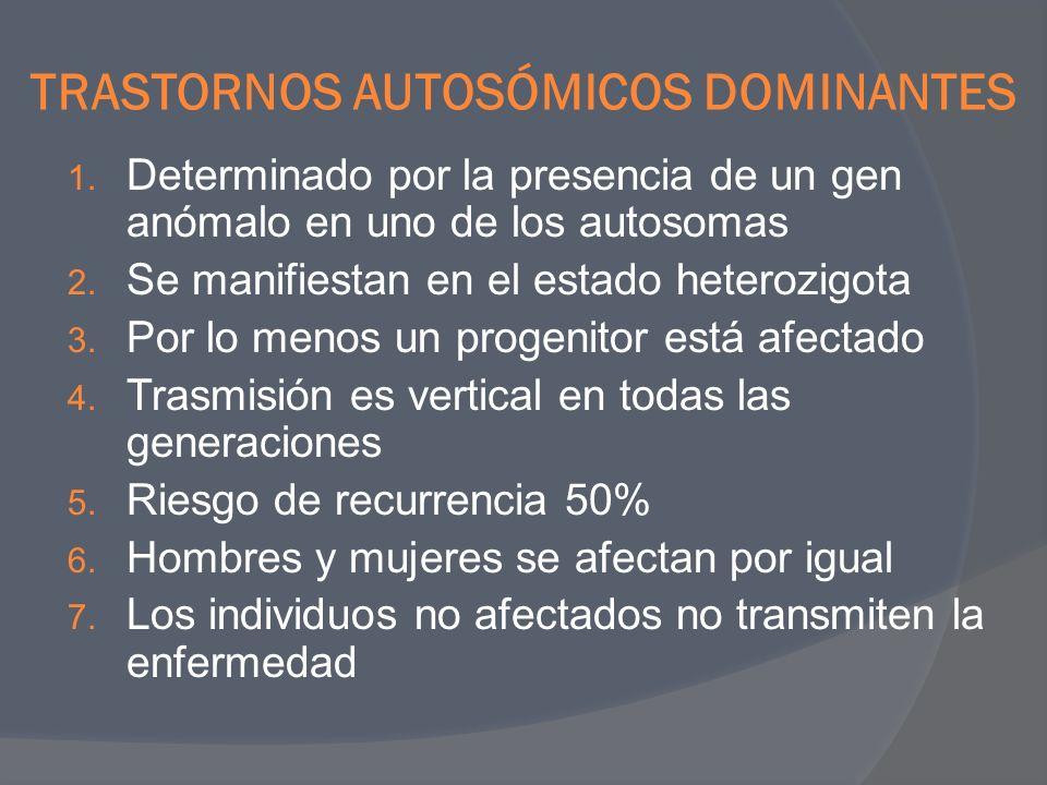 TRASTORNOS AUTOSÓMICOS DOMINANTES 1. Determinado por la presencia de un gen anómalo en uno de los autosomas 2. Se manifiestan en el estado heterozigot