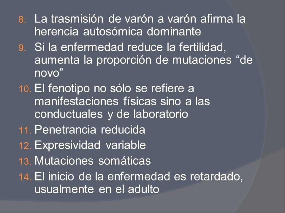 8. La trasmisión de varón a varón afirma la herencia autosómica dominante 9. Si la enfermedad reduce la fertilidad, aumenta la proporción de mutacione