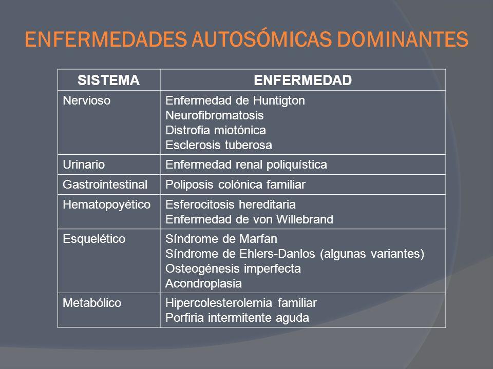 TRASTORNOS AUTOSÓMICOS RECESIVOS SISTEMAENFERMEDAD MetabólicoFibrosis quística Fenilcetonuria Galactosemia Homocistinuria Enfermedades por almacenamiento lisosomales Deficiencia de α-antitripsina Enfermedad de Wilson Hemocromatosis Enfermedades por almacenamiento de glucógeno HematopoyéticoAnemia de células falciformes Talasemias EndocrinoHierplasia suprarrenal congénita EsqueléticoSíndrome de Ehlers-Danlos (algunas variantes) Alcaptonuria NerviosoAtrofias musculares neurogénicas Ataxia de Friedreich Atrofia muscular espinal