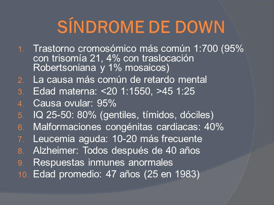 SÍNDROME DE DOWN 1. Trastorno cromosómico más común 1:700 (95% con trisomía 21, 4% con traslocación Robertsoniana y 1% mosaicos) 2. La causa más común