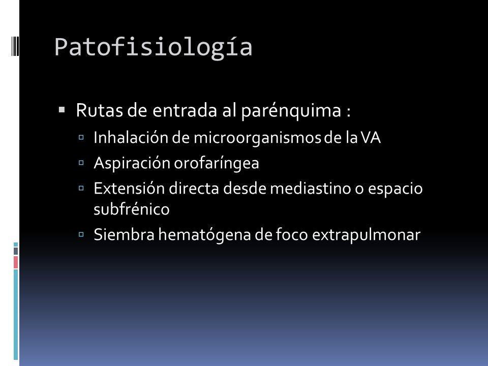 Patofisiología Rutas de entrada al parénquima : Inhalación de microorganismos de la VA Aspiración orofaríngea Extensión directa desde mediastino o esp