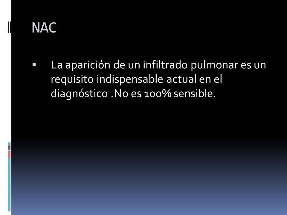 La aparición de un infiltrado pulmonar es un requisito indispensable actual en el diagnóstico.No es 100% sensible.