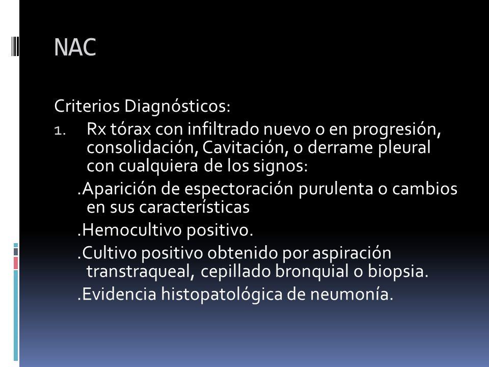 NAC Criterios Diagnósticos: 1. Rx tórax con infiltrado nuevo o en progresión, consolidación, Cavitación, o derrame pleural con cualquiera de los signo