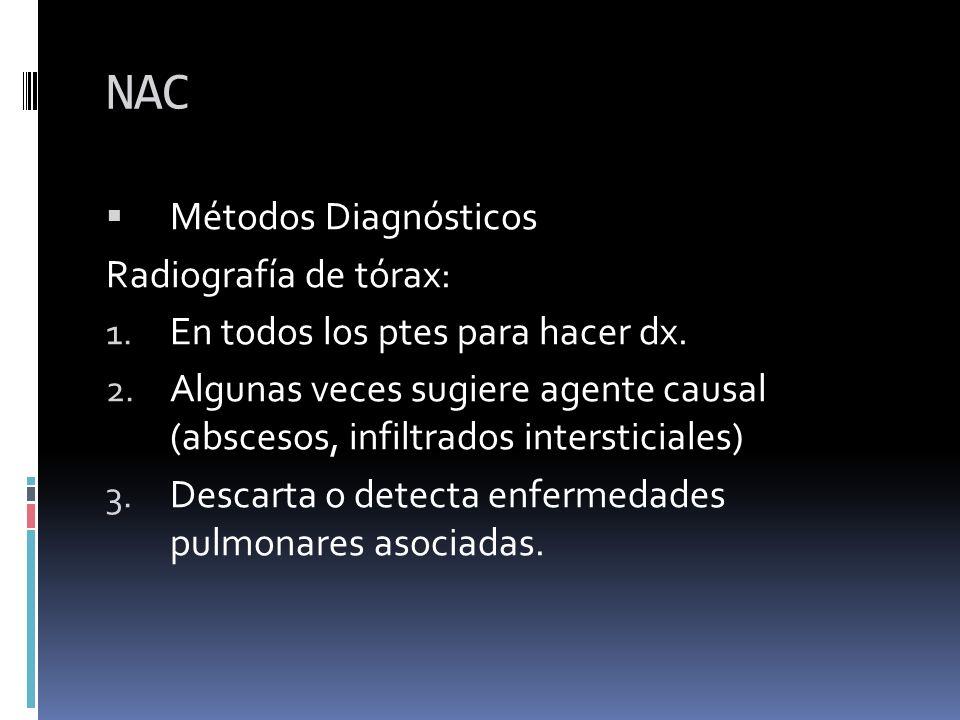 NAC Métodos Diagnósticos Radiografía de tórax: 1. En todos los ptes para hacer dx. 2. Algunas veces sugiere agente causal (abscesos, infiltrados inter