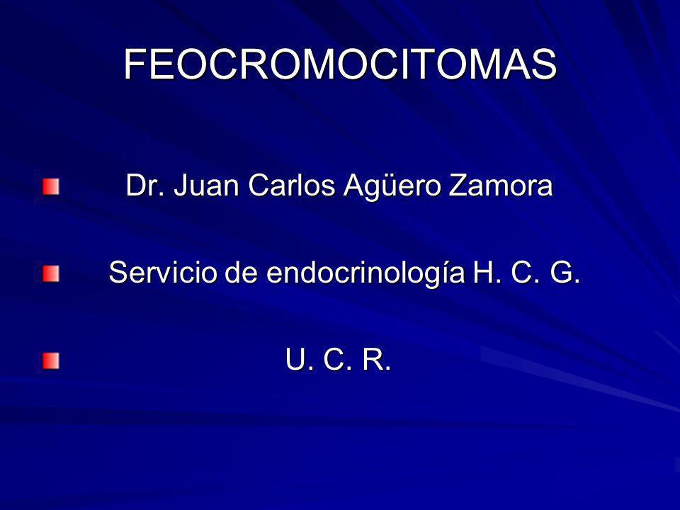 FEOCROMOCITOMAS Dr. Juan Carlos Agüero Zamora Dr. Juan Carlos Agüero Zamora Servicio de endocrinología H. C. G. Servicio de endocrinología H. C. G. U.