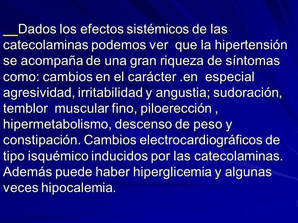 __Dados los efectos sistémicos de las catecolaminas podemos ver que la hipertensión se acompaña de una gran riqueza de síntomas como: cambios en el ca