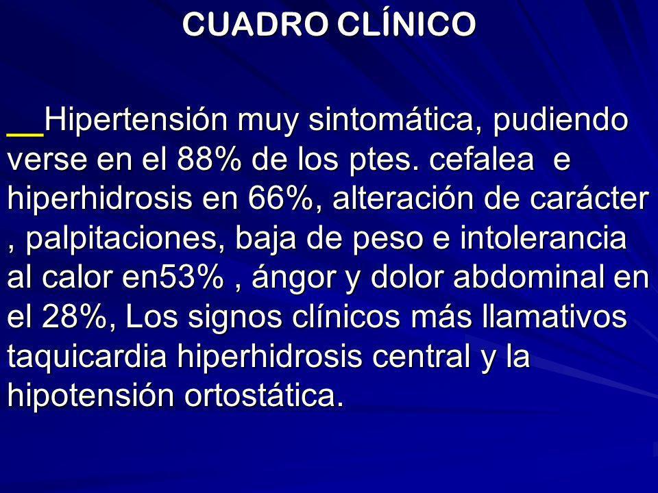CUADRO CLÍNICO __Hipertensión muy sintomática, pudiendo verse en el 88% de los ptes. cefalea e hiperhidrosis en 66%, alteración de carácter, palpitaci
