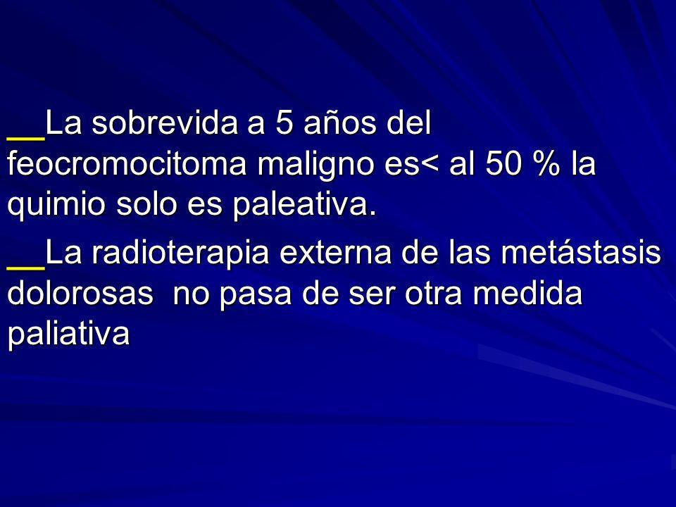 __La sobrevida a 5 años del feocromocitoma maligno es< al 50 % la quimio solo es paleativa. __La radioterapia externa de las metástasis dolorosas no p