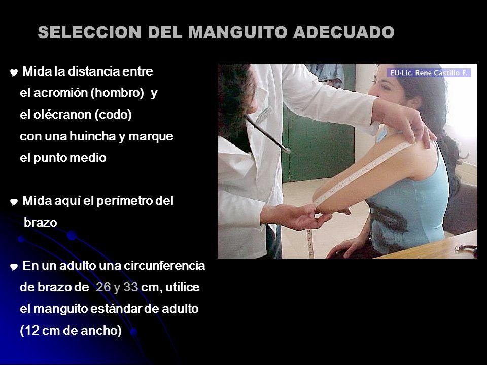 SELECCION DEL MANGUITO ADECUADO Mida la distancia entre el acromión (hombro) y el olécranon (codo) con una huincha y marque el punto medio Mida aquí e