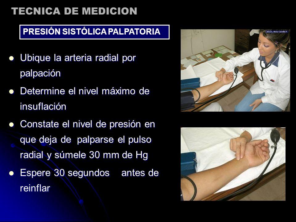 Ubique la arteria radial por palpación Ubique la arteria radial por palpación Determine el nivel máximo de insuflación Determine el nivel máximo de in