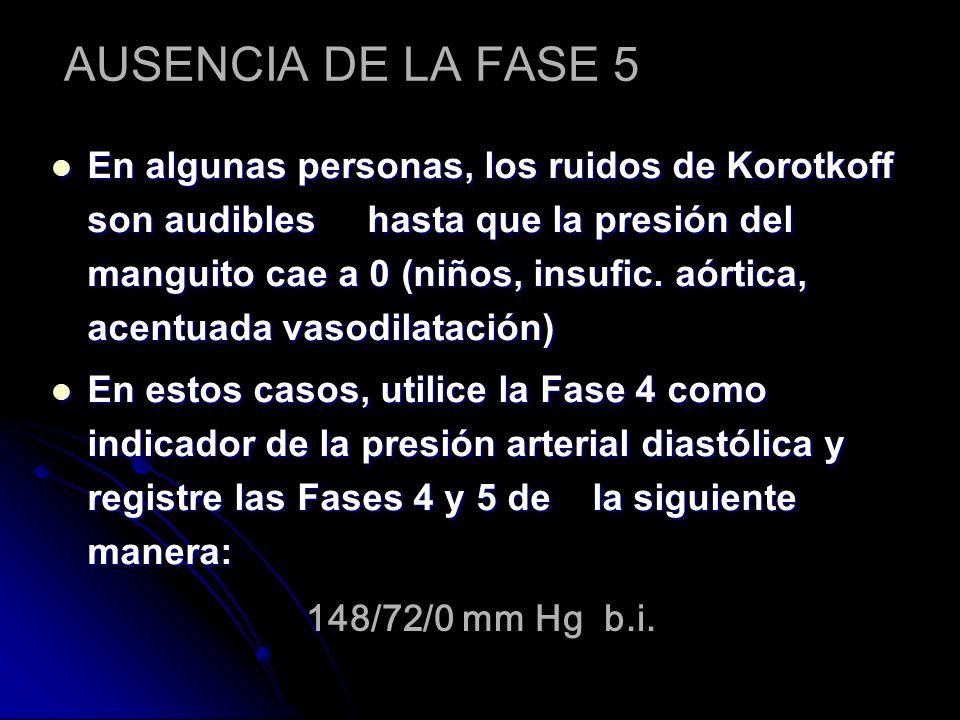 AUSENCIA DE LA FASE 5 En algunas personas, los ruidos de Korotkoff son audibles hasta que la presión del manguito cae a 0 (niños, insufic. aórtica, ac