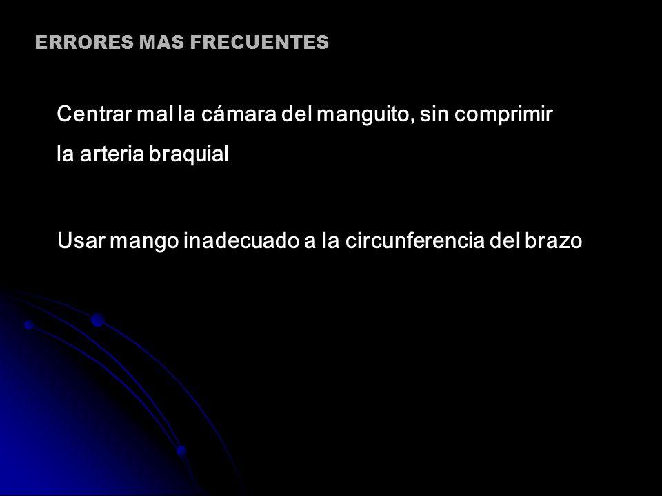 Centrar mal la cámara del manguito, sin comprimir la arteria braquial Usar mango inadecuado a la circunferencia del brazo