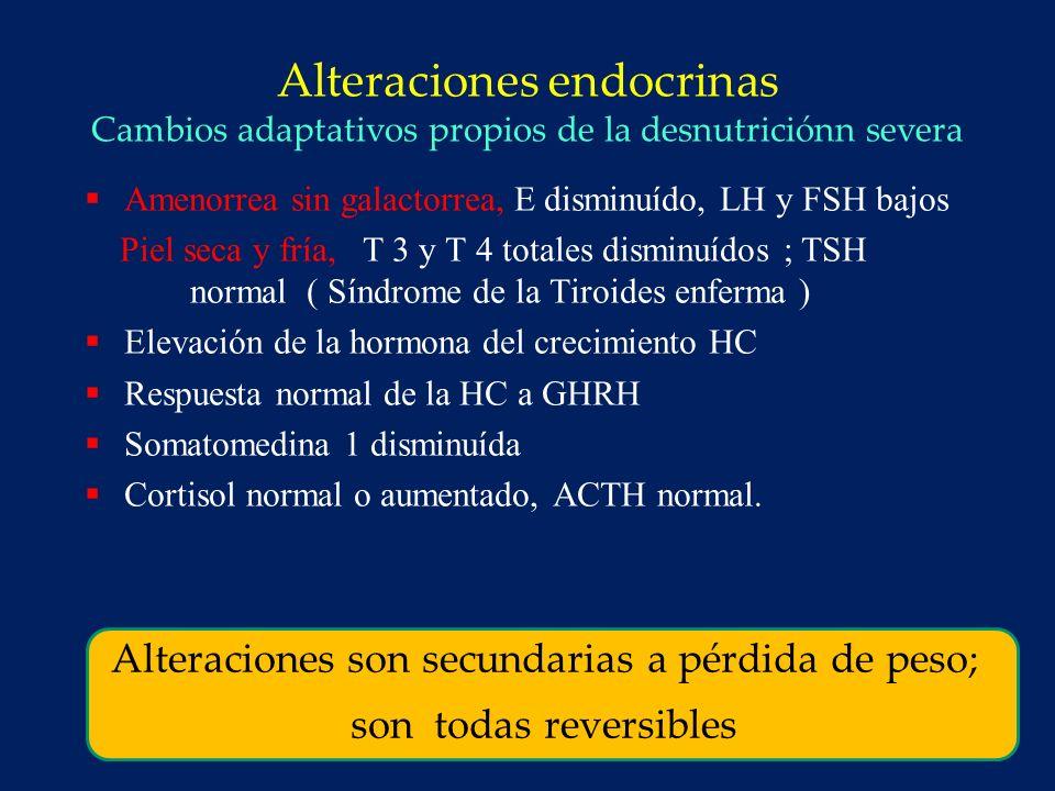 Hallazgos clínicos en Anorexia Nervosa Piel fría y seca 88 % Bradicardia 80 % Caquexia 72 % Bradipnea 66 % Hipotensión ( < 70 mm Hg sistólica ) 52 % Edema 23 % Vigersky RA, ed AN, New York: Raven 1977 : 331-339