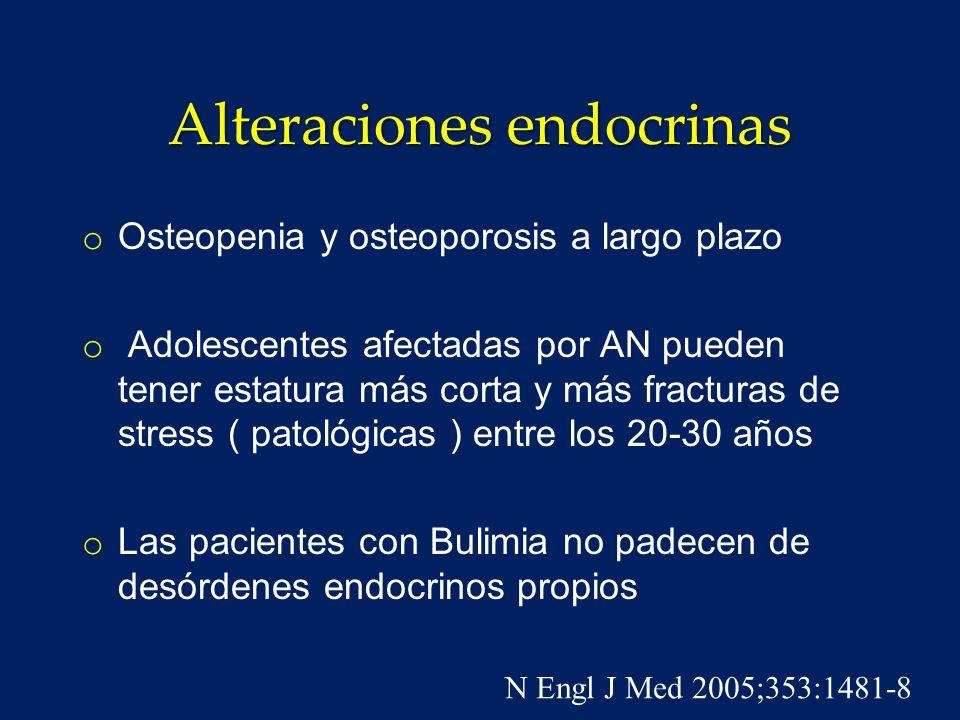 Hipokalemia o Ocurre en aproximadamente 5 % de las pacientes bulímicas debido a uso de diuréticos, vómitos frecuentes y deshidratación ( hiperaldosteronismo secundario ) o Predisposición a arritmias cardíacas e infecciones urinarias N Engl J Med 2003;349:875-81.