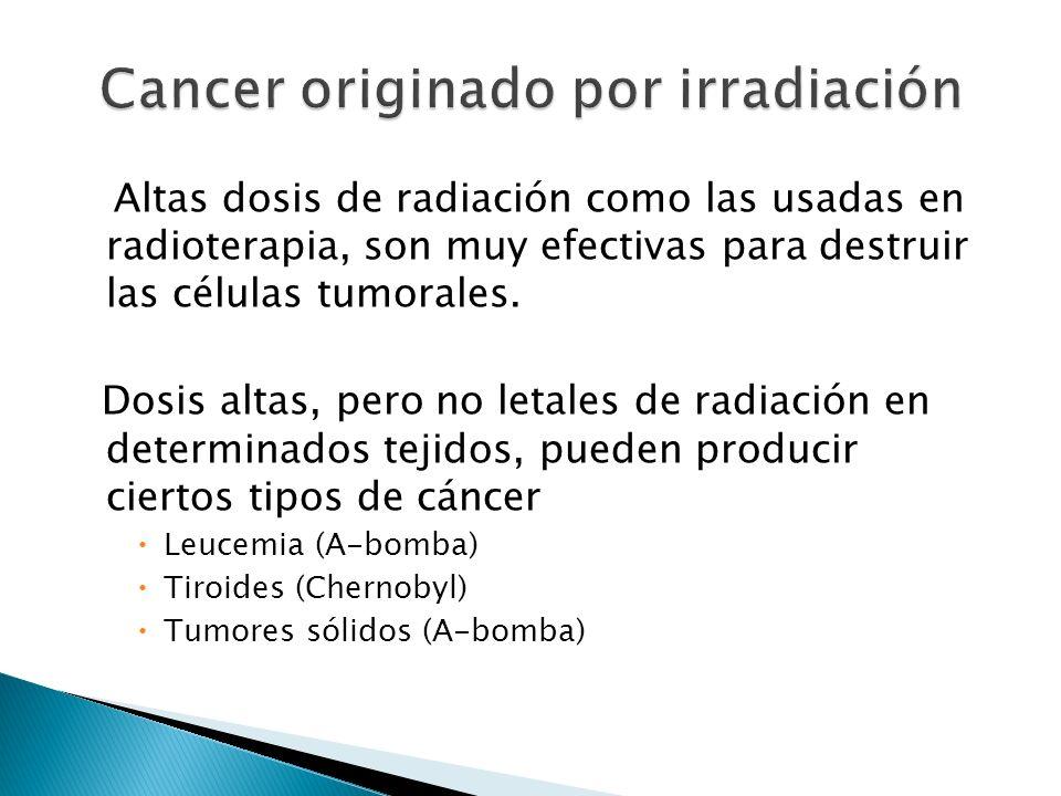 Altas dosis de radiación como las usadas en radioterapia, son muy efectivas para destruir las células tumorales. Dosis altas, pero no letales de radia