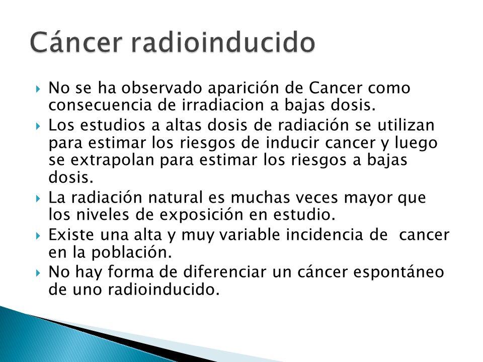 No se ha observado aparición de Cancer como consecuencia de irradiacion a bajas dosis. Los estudios a altas dosis de radiación se utilizan para estima