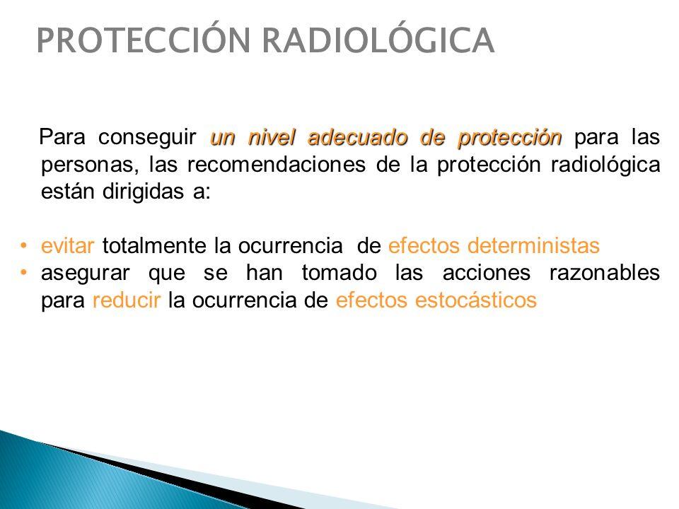 un nivel adecuado de protección Para conseguir un nivel adecuado de protección para las personas, las recomendaciones de la protección radiológica est