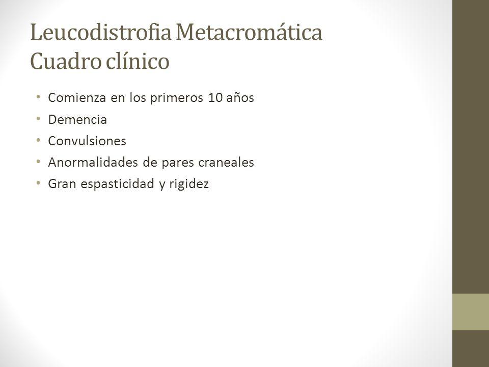 Leucodistrofia Metacromática Cuadro clínico Comienza en los primeros 10 años Demencia Convulsiones Anormalidades de pares craneales Gran espasticidad