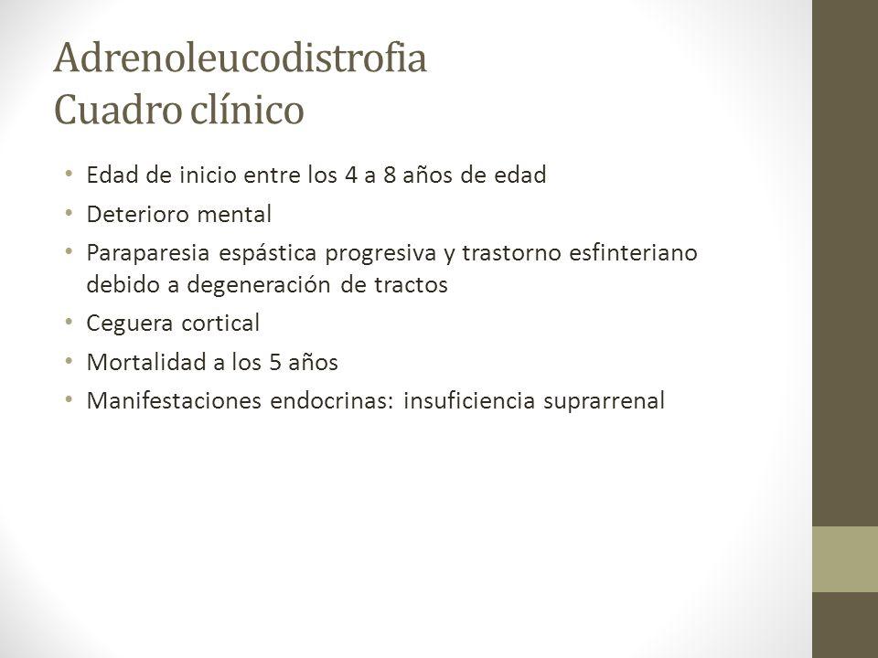 Adrenoleucodistrofia Cuadro clínico Edad de inicio entre los 4 a 8 años de edad Deterioro mental Paraparesia espástica progresiva y trastorno esfinter