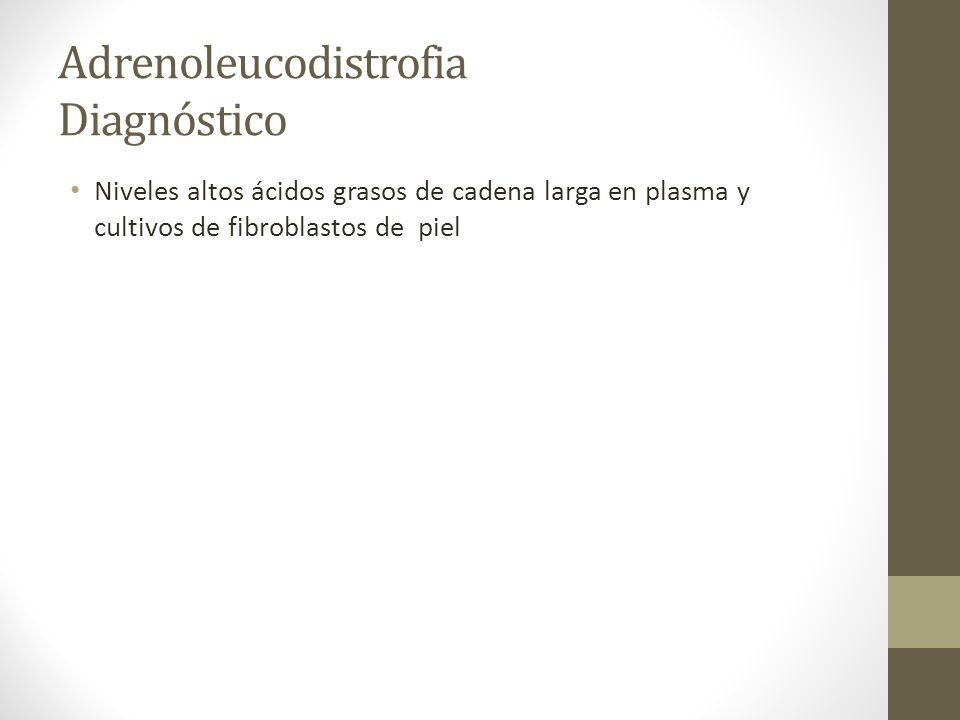 Adrenoleucodistrofia Diagnóstico Niveles altos ácidos grasos de cadena larga en plasma y cultivos de fibroblastos de piel