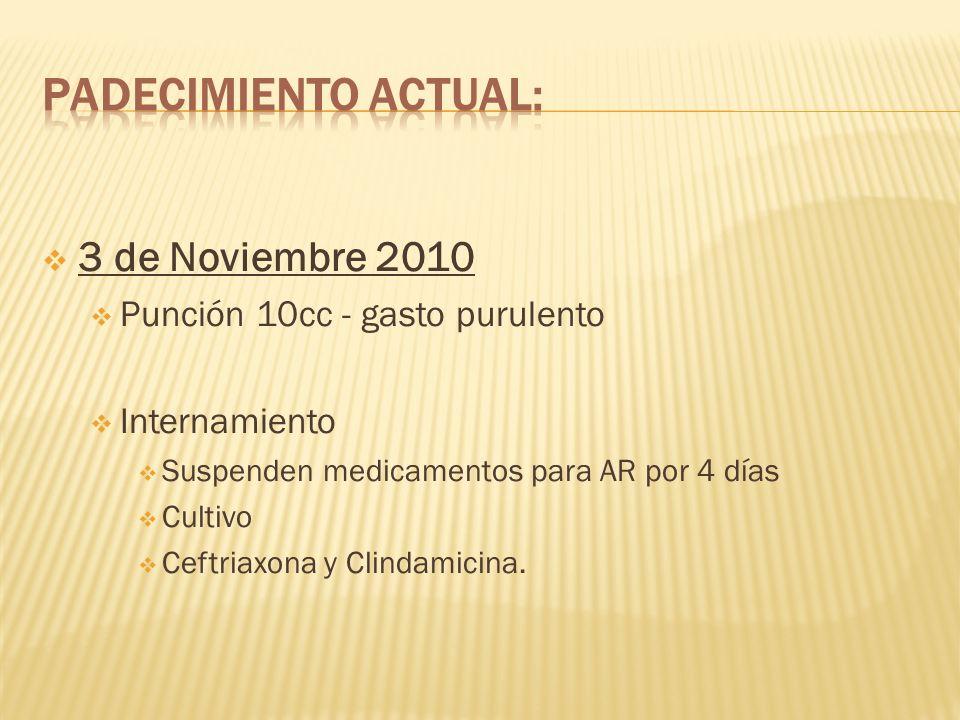 3 de Noviembre 2010 Punción 10cc - gasto purulento Internamiento Suspenden medicamentos para AR por 4 días Cultivo Ceftriaxona y Clindamicina.
