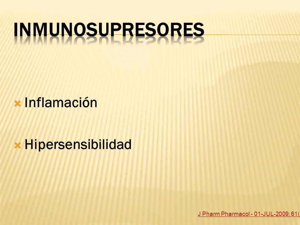 Inflamación Hipersensibilidad J Pharm Pharmacol - 01-JUL-2009; 61(7): 911-8