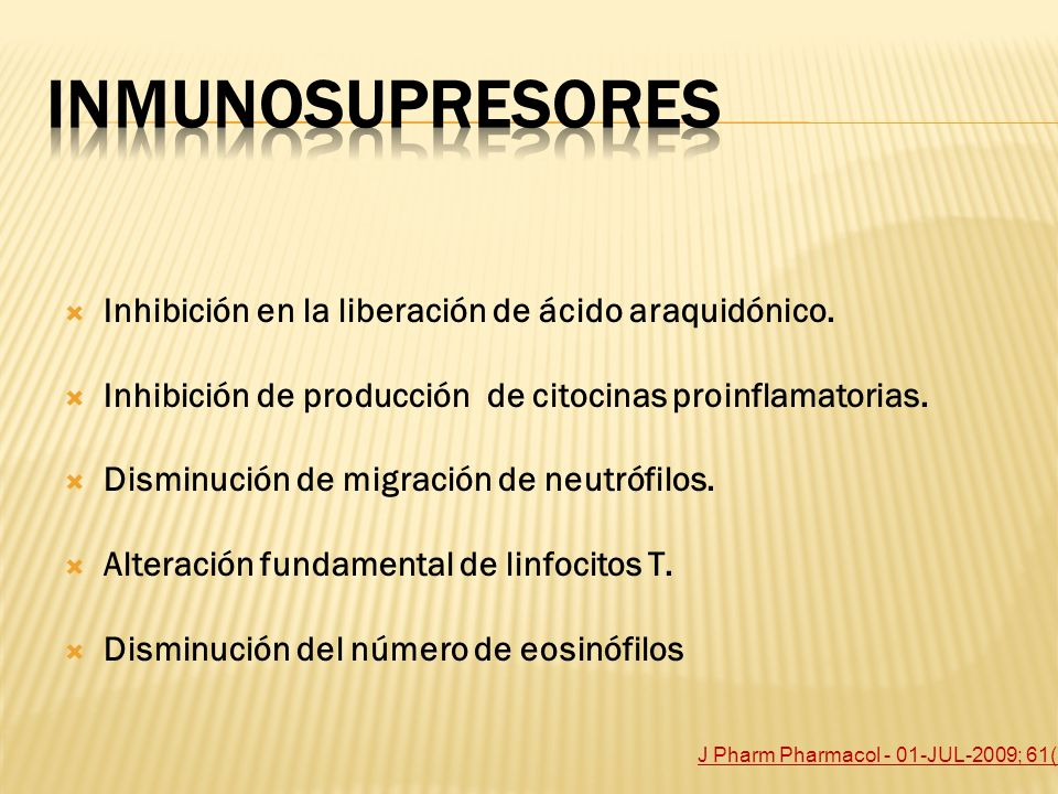 Inhibición en la liberación de ácido araquidónico. Inhibición de producción de citocinas proinflamatorias. Disminución de migración de neutrófilos. Al