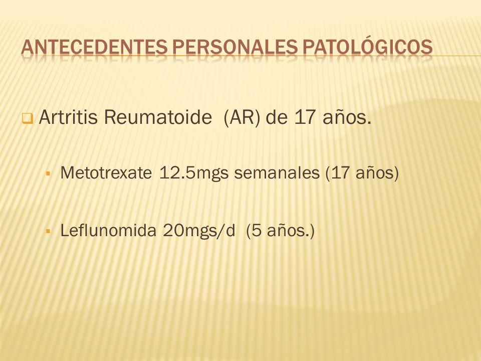 TGP: 14.4 U/L TGO: 17.2 U/L DHL: 218 U/L Colesterol: 211 mg/dl Ácido Úrico: 3.3 mg/dl Proteínas Totales: 5.8 g/dl Albúmina: 2.6 g/dl Globulinas: 3.1 Relación Albúmina/Globulinas: 0.85 Calcio: 8.8 g/dl Fósforo: 3.25 mg/dl Sodio: 139 mEq/L Potasio: 3.9 mEq/L Cloro: 108 mEq/L Bilirrubinas: Total: 0.59 mg/dl Directa: 0.19 mg/dl Indirecta: 0.37 mg/dl FA: 117 U/L Factor Reumatoide: 1/80 VSG: 34 Proteína C Reactiva: 116.85
