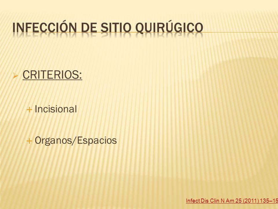 CRITERIOS: Incisional Organos/Espacios Infect Dis Clin N Am 25 (2011) 135–153