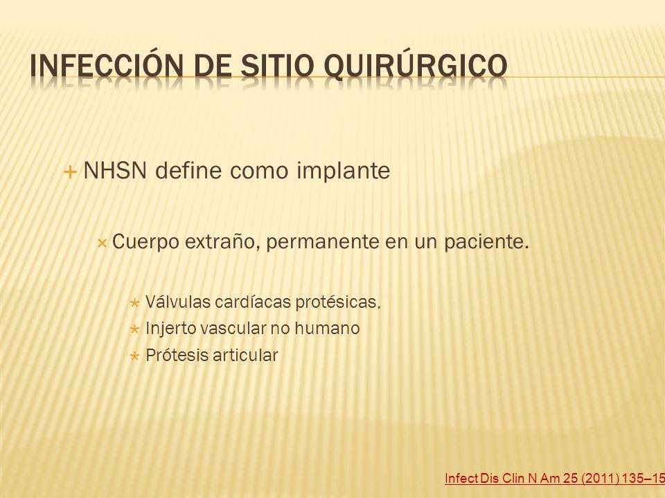 NHSN define como implante Cuerpo extraño, permanente en un paciente. Válvulas cardíacas protésicas, Injerto vascular no humano Prótesis articular Infe