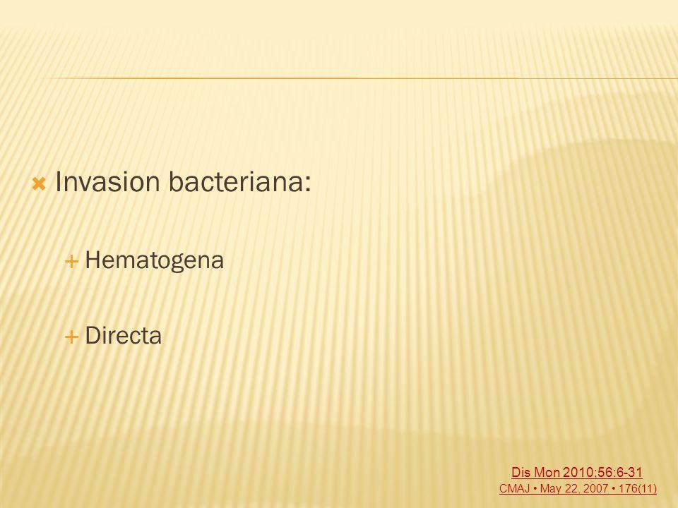 Invasion bacteriana: Hematogena Directa CMAJ May 22, 2007 176(11) Dis Mon 2010;56:6-31