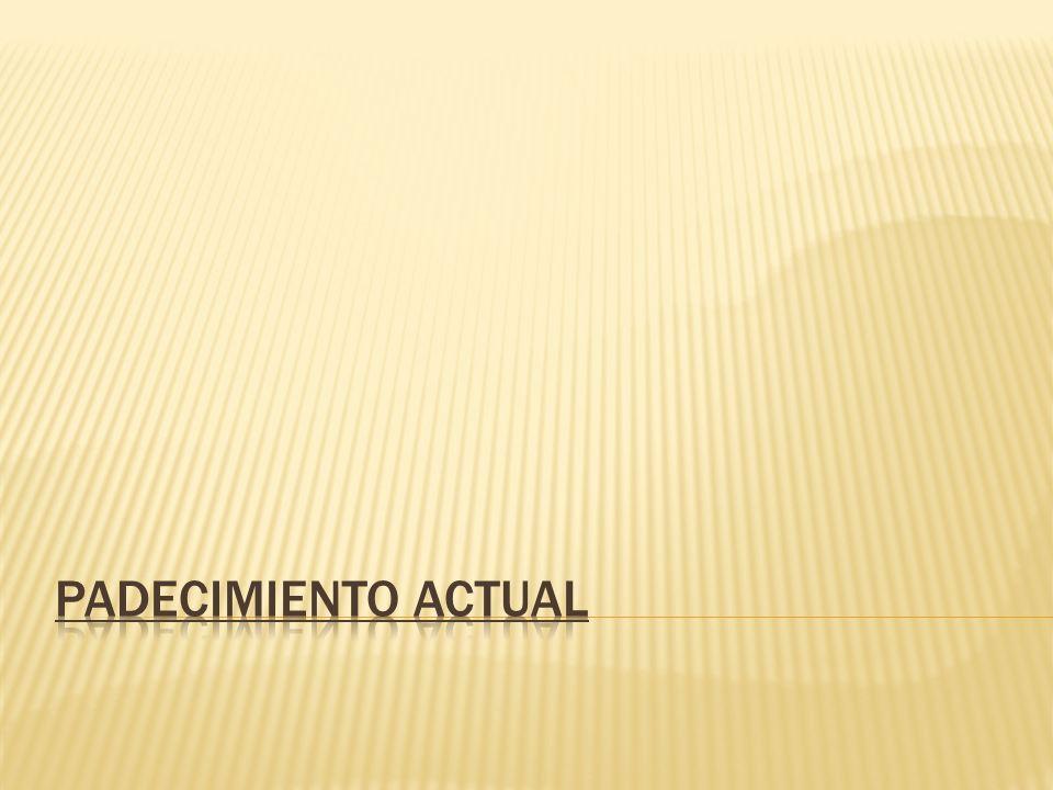 Siguientes 3 meses: Asintomática 25 de enero del 2011 Tumoración en rodilla izquierda en cara medial de 1x1 cm, Dolor Punción en consultorio Material serohemático - 5cc.