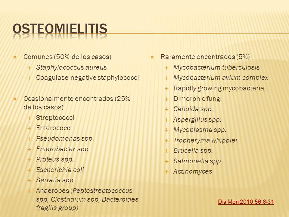 Comunes (50% de los casos) Staphylococcus aureus Coagulase-negative staphylococci Ocasionalmente encontrados (25% de los casos) Streptococci Enterococ