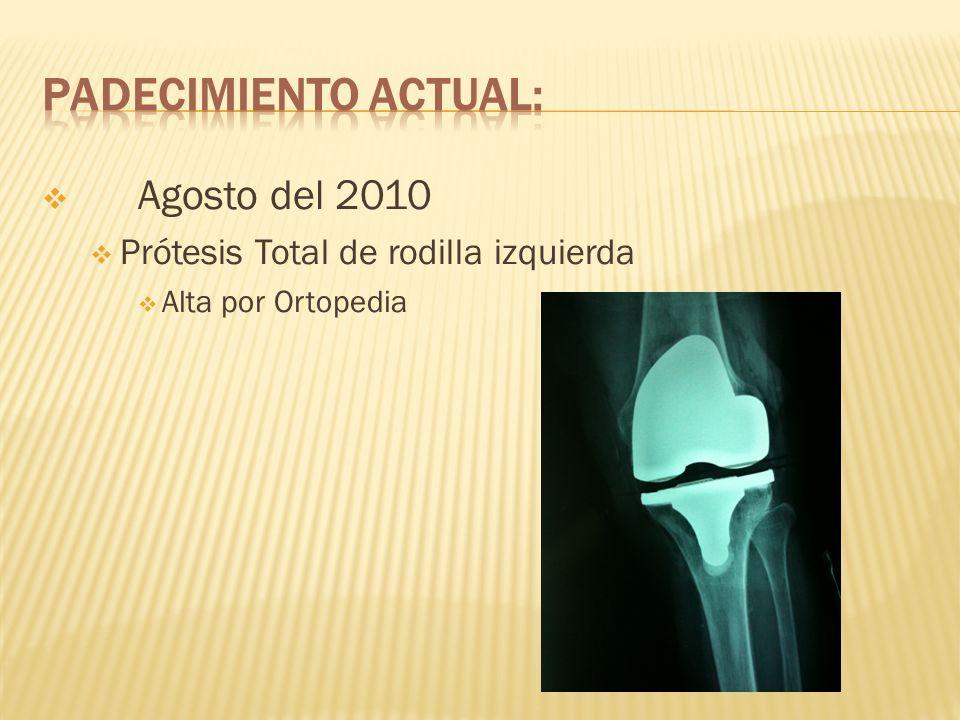 28 de febrero del 2011 Tumoración en rodilla izquierda en cara medial de 3x3 cm, Dolor Drenaje por punción en consultorio Material purulento 20-30cc.