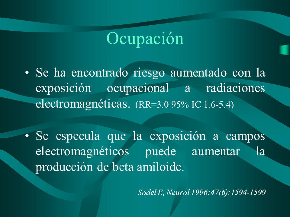 Ocupación Se ha encontrado riesgo aumentado con la exposición ocupacional a radiaciones electromagnéticas. (RR=3.0 95% IC 1.6-5.4) Se especula que la