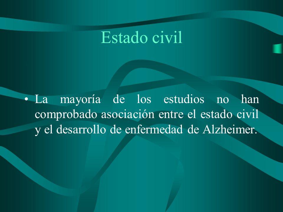 Estado civil La mayoría de los estudios no han comprobado asociación entre el estado civil y el desarrollo de enfermedad de Alzheimer.