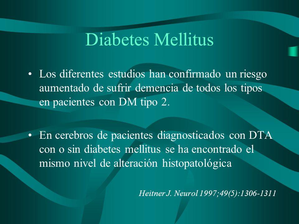 Diabetes Mellitus Los diferentes estudios han confirmado un riesgo aumentado de sufrir demencia de todos los tipos en pacientes con DM tipo 2. En cere
