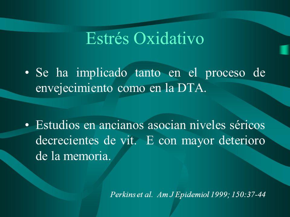 Estrés Oxidativo Se ha implicado tanto en el proceso de envejecimiento como en la DTA. Estudios en ancianos asocian niveles séricos decrecientes de vi