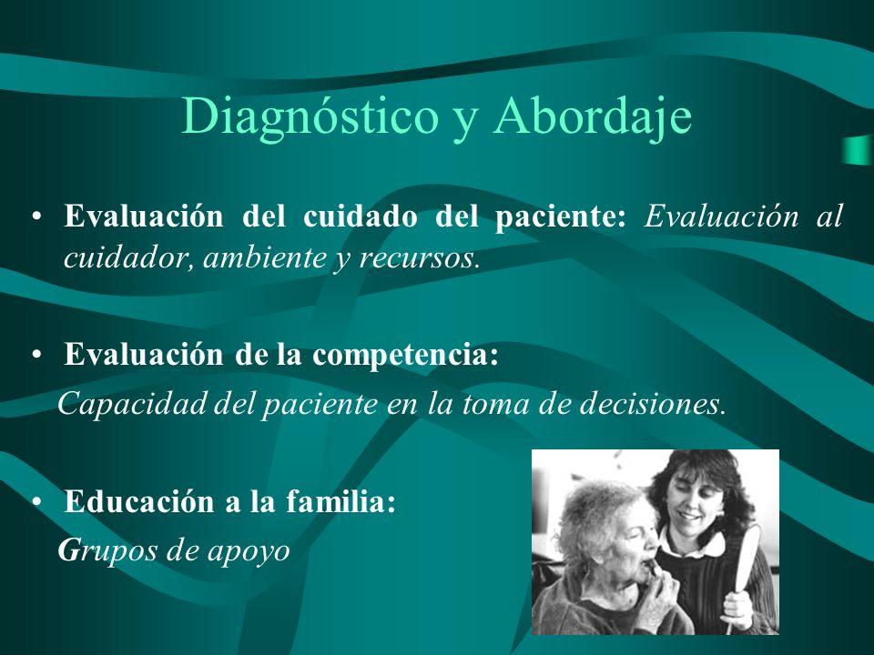 Diagnóstico y Abordaje Evaluación del cuidado del paciente: Evaluación al cuidador, ambiente y recursos. Evaluación de la competencia: Capacidad del p