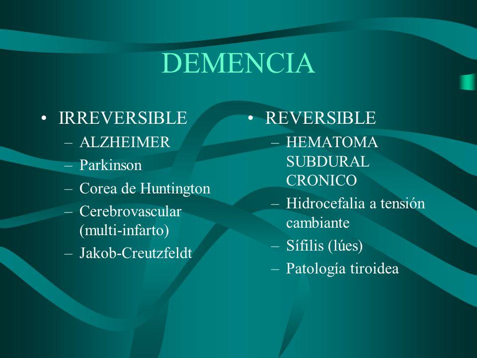 DEMENCIA IRREVERSIBLE –ALZHEIMER –Parkinson –Corea de Huntington –Cerebrovascular (multi-infarto) –Jakob-Creutzfeldt REVERSIBLE –HEMATOMA SUBDURAL CRO