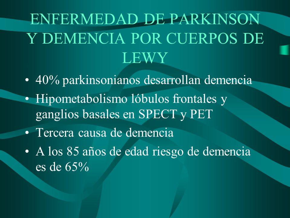 ENFERMEDAD DE PARKINSON Y DEMENCIA POR CUERPOS DE LEWY 40% parkinsonianos desarrollan demencia Hipometabolismo lóbulos frontales y ganglios basales en