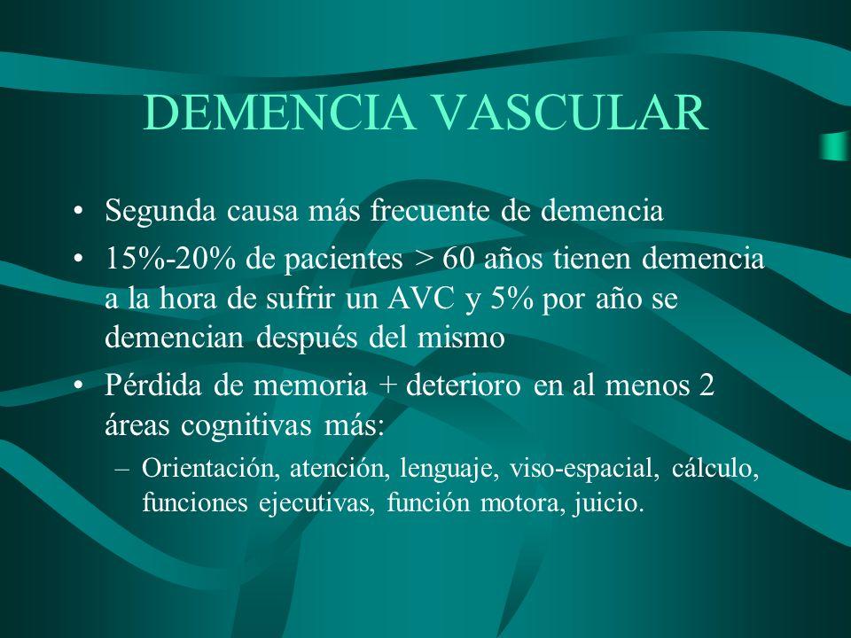 DEMENCIA VASCULAR Segunda causa más frecuente de demencia 15%-20% de pacientes > 60 años tienen demencia a la hora de sufrir un AVC y 5% por año se de