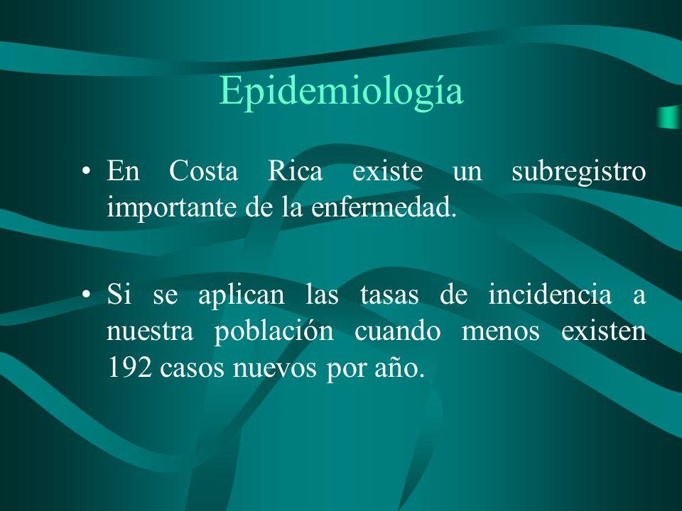 Epidemiología En Costa Rica existe un subregistro importante de la enfermedad. Si se aplican las tasas de incidencia a nuestra población cuando menos