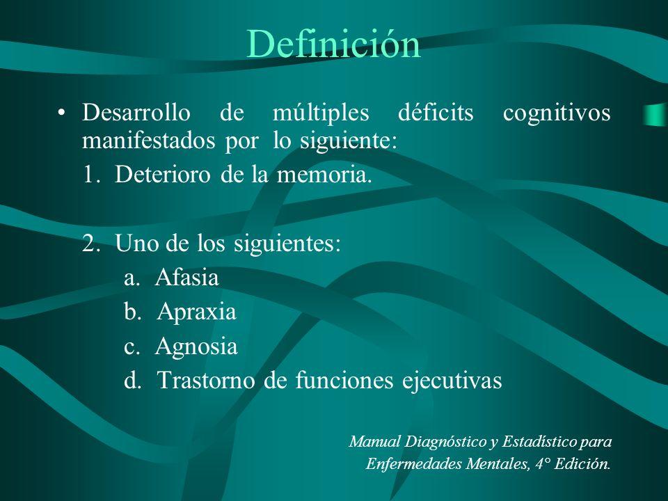 Definición Desarrollo de múltiples déficits cognitivos manifestados por lo siguiente: 1. Deterioro de la memoria. 2. Uno de los siguientes: a. Afasia