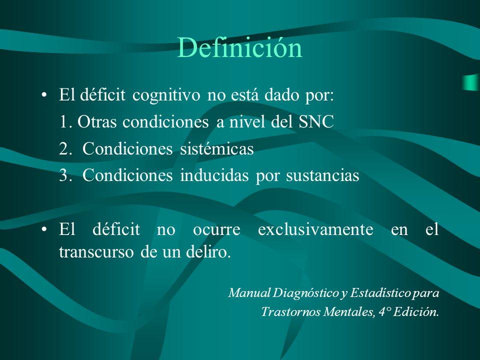 Definición El déficit cognitivo no está dado por: 1. Otras condiciones a nivel del SNC 2. Condiciones sistémicas 3. Condiciones inducidas por sustanci